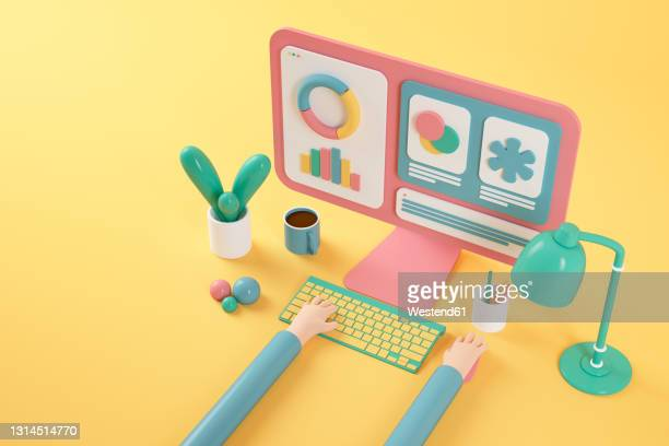cartoon hands using pink computer on yellow background - computer stock illustrations