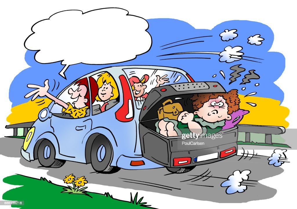 Cartoon Illustration Of A Family On A Road Trip Mother In