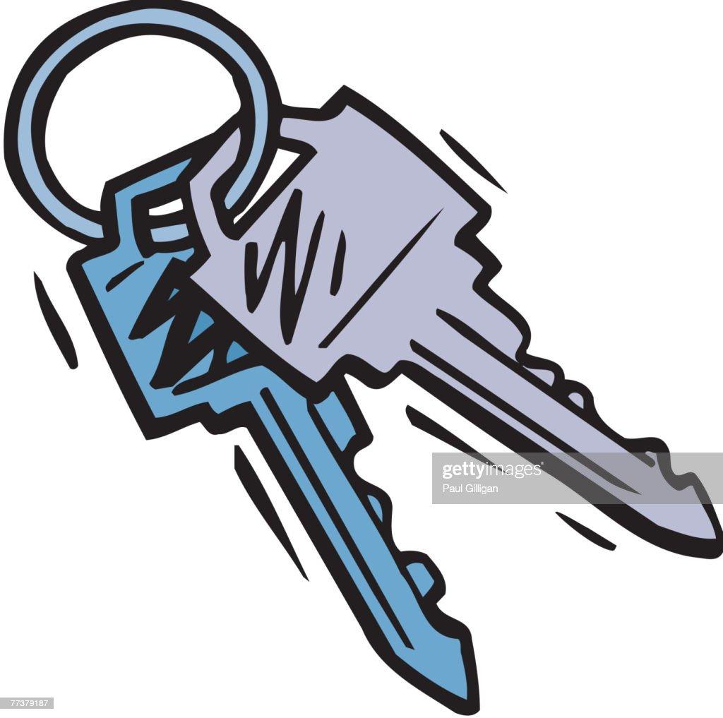 A cartoon illustration of a set of keys : Illustration