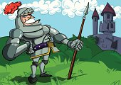 Cartoon knight and castle