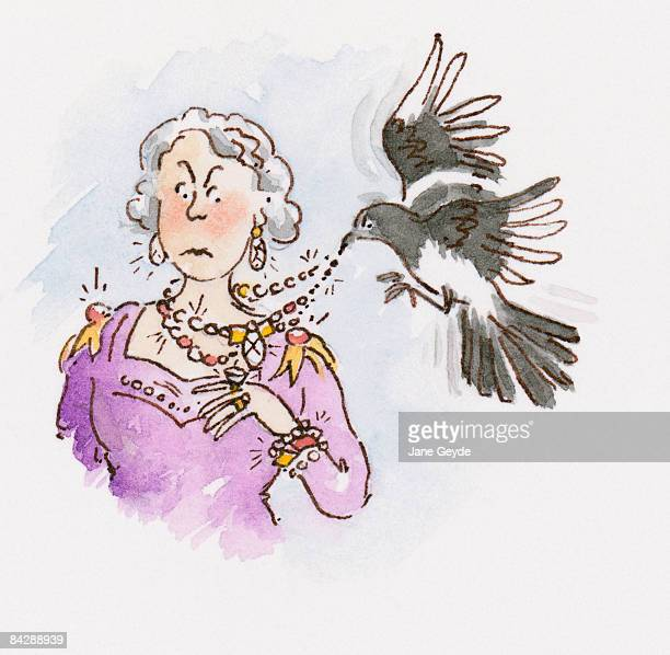 ilustraciones, imágenes clip art, dibujos animados e iconos de stock de cartoon of european magpie (pica pica) pecking at necklace around neck of surprised woman with raised eyebrows - mujeres ancianas solamente