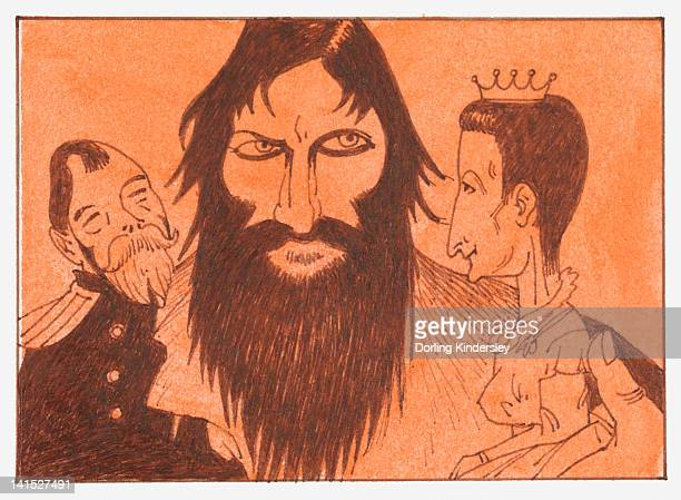 Cartoon of Griogri Rasputin, Nicholas II and his wife Alexandra