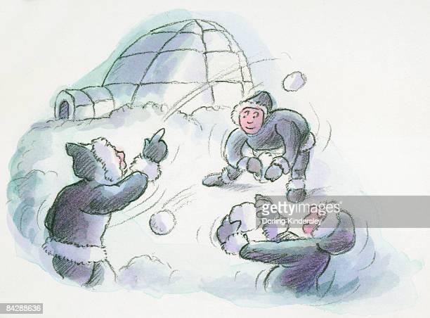 illustrations, cliparts, dessins animés et icônes de cartoon of igloo and inuits throwing snowballs - igloo