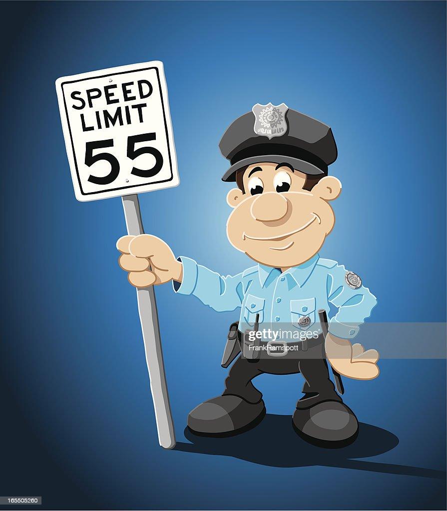 Cartoon Police Officer Speed Limit Traffic Sign Vector Art