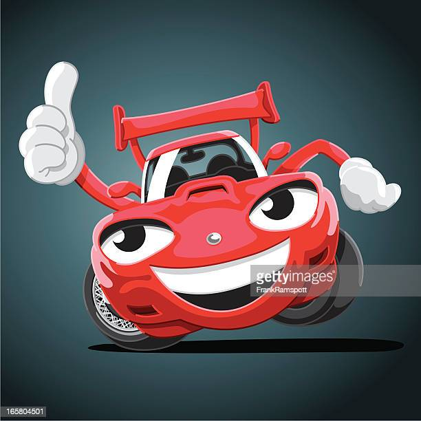 Cartoon Racecar Thumbs Up