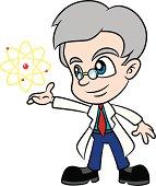 Cartoon Scientist Presenting Atom