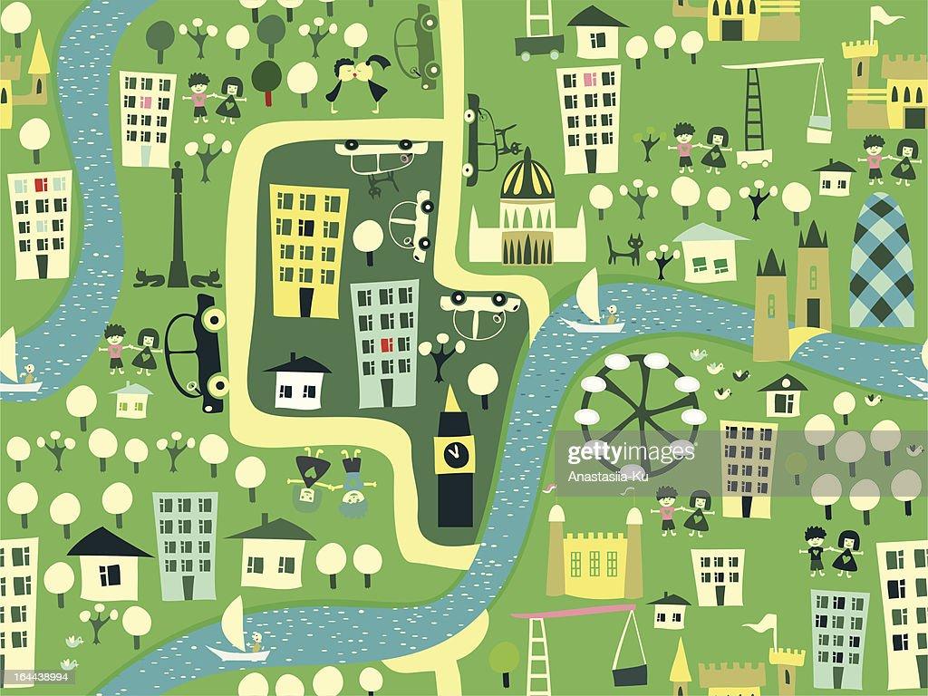 Cartoon Seamless Pattern of London