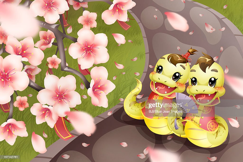 Cartoon snake and peach blossom for Chinese year of snake : Stock Illustration