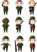 cartoon soldier boy icons set