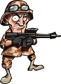 Cartoon soldier in Iraq or Afghanistan