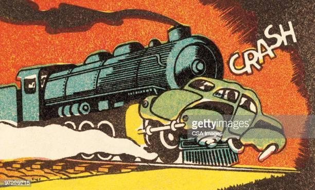 ilustraciones, imágenes clip art, dibujos animados e iconos de stock de car-train collision - car crash