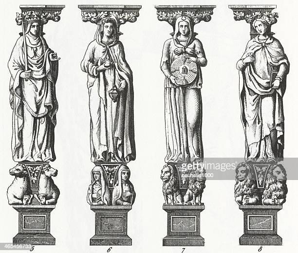 caryatides of st. peter engraving - greek statue stock illustrations