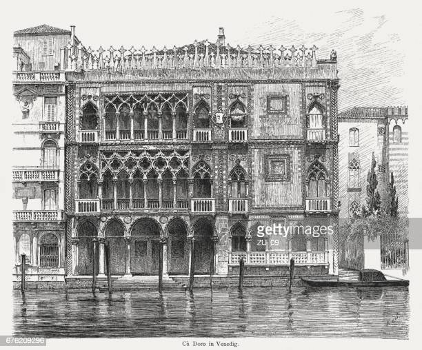 casa d' oro in venice, italy, wood engraving, published 1884 - venice italy stock illustrations, clip art, cartoons, & icons