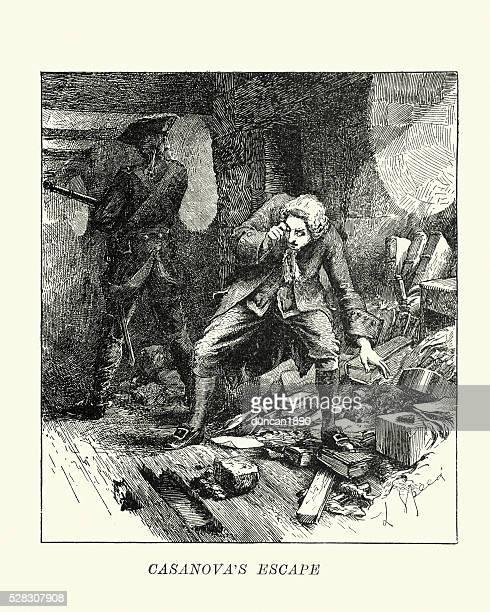 casanova's escape from prison, venice, italy - prison escape stock illustrations