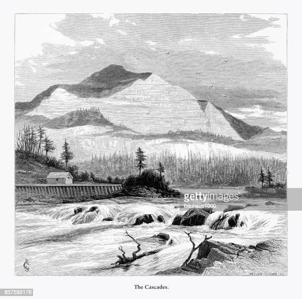 cascades, the cascades, washington, united states, american victorian engraving, 1872 - rapid stock illustrations