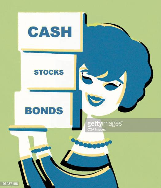cash stocks and bonds - giving stock illustrations