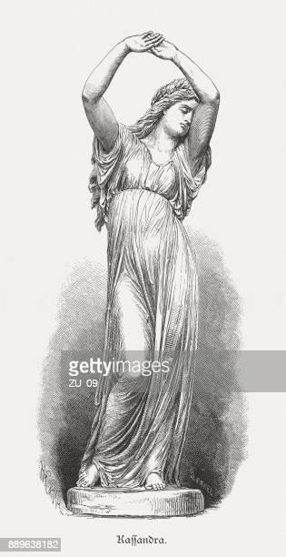 Cassandra, figura de la mitología griega, grabado en madera, publicado 1879