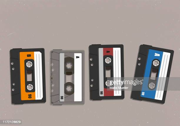 cassette tapes in a row - plastic stock illustrations