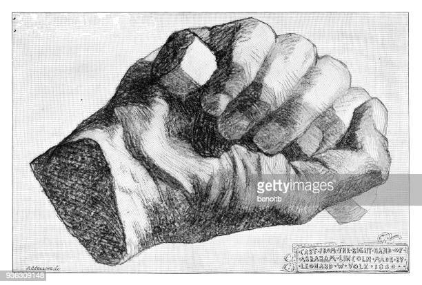 cast of the right hand of abraham lincoln - us president stock illustrations, clip art, cartoons, & icons