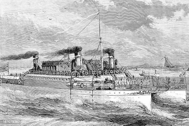"""""""castalia"""" ship in the british channel (la manche) - normandy stock illustrations"""