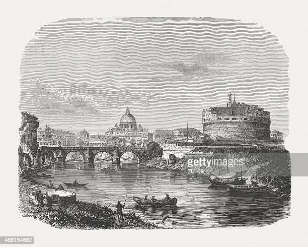 castel sant'angelo and aelian bridge in rome, published 1878 - castel sant'angelo stock illustrations