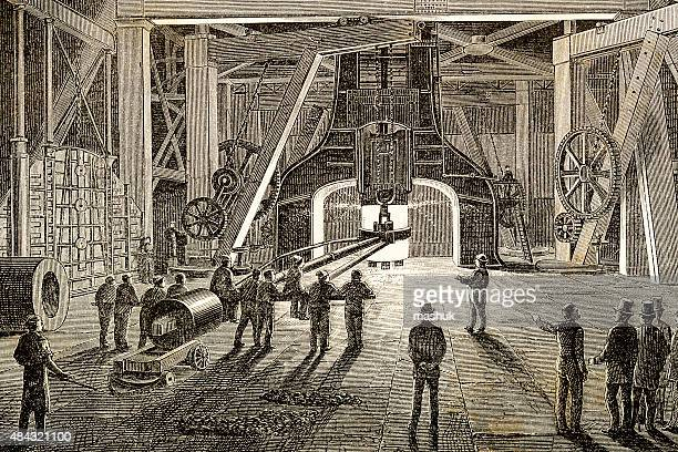 casthouse, foundry with working iron furnace - industrial revolution stock illustrations