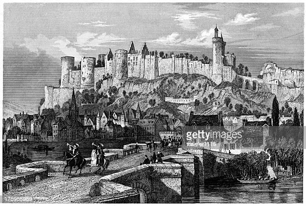 castle chinon, indre-et-loire - loire valley stock illustrations, clip art, cartoons, & icons