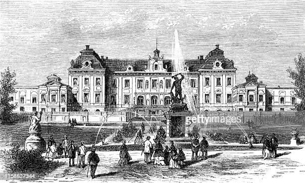 castle drottningholm, sweden - drottningholm palace stock illustrations