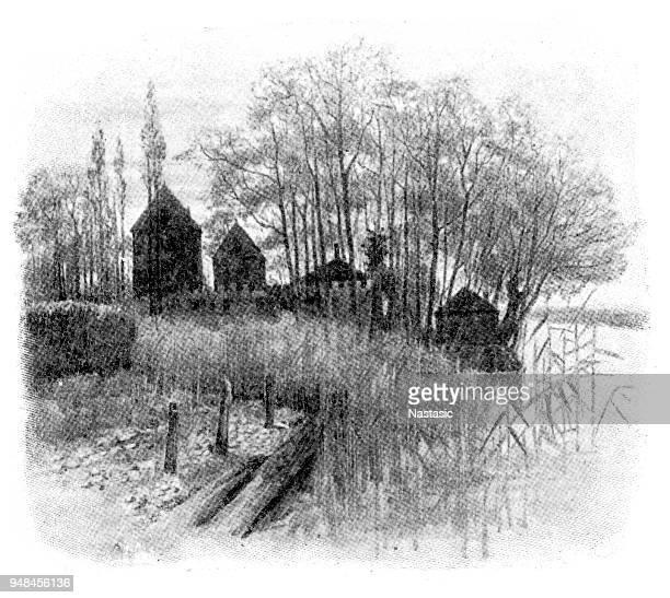 ilustrações, clipart, desenhos animados e ícones de castelo de gottlieben na constance, era originalmente parte da terra de propriedade do bispo de constança - bishop clergy