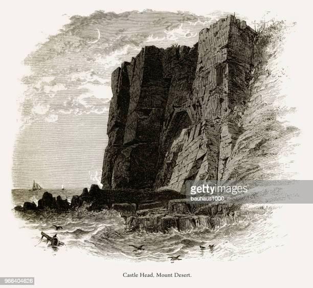 castle head, mount desert island, maine, united states, american victorian engraving, 1872 - hancock county stock illustrations, clip art, cartoons, & icons