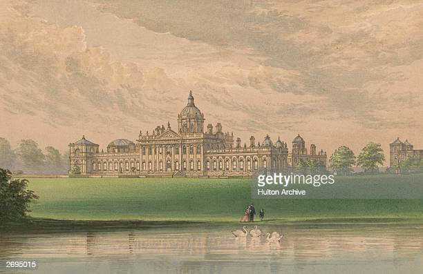 Castle Howard in Yorkshire seen from across the lake The architects were Sir John Vanbrughand Nicholas Hawksmoor who designed the building for the...