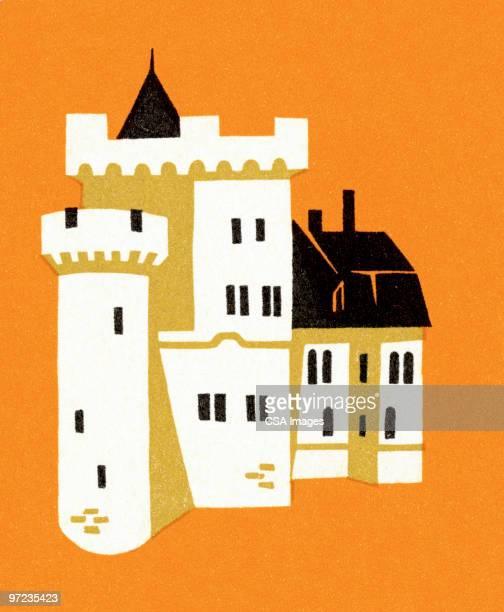 ilustraciones, imágenes clip art, dibujos animados e iconos de stock de castle - castillo estructura de edificio