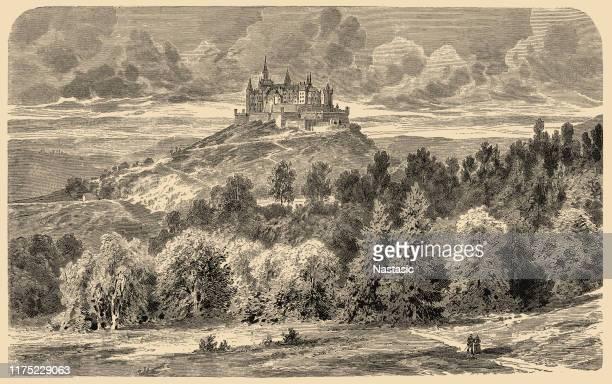 castle of hohenzollern - bavaria stock illustrations