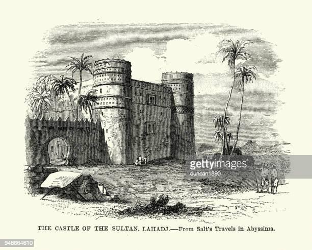 castle of the sultaun of aden at lahadj 19th century - yemen stock illustrations, clip art, cartoons, & icons