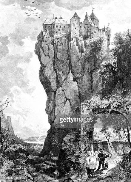 castle prunn in bavaria - steep stock illustrations, clip art, cartoons, & icons