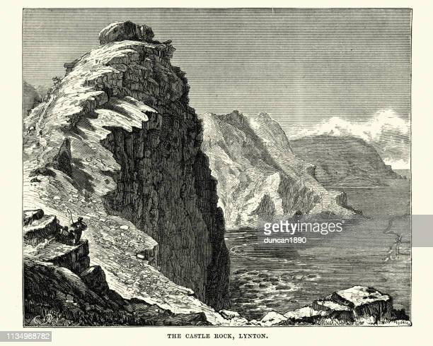 Castle Rock formation, Lynton, Devon, 19th Century
