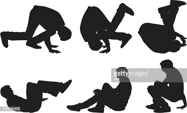 casual male doing a somersault - gymnastics stock illustrations