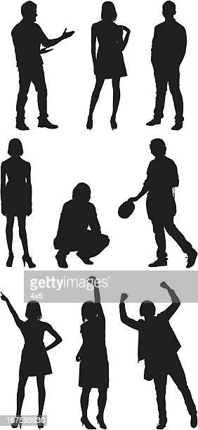 casual people doing different activities - hand on hip stock illustrations, clip art, cartoons, & icons