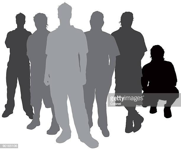 casual silhouettes 02 - gang stock illustrations