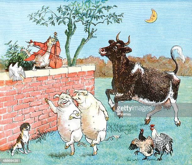 猫および小、牛やご友人と - 雌豚点のイラスト素材/クリップアート素材/マンガ素材/アイコン素材