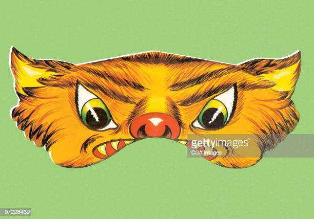 cat mask - wildcat animal stock illustrations, clip art, cartoons, & icons