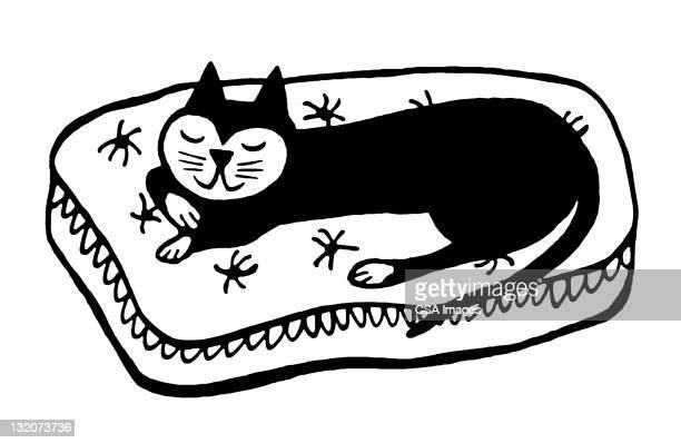 illustrations, cliparts, dessins animés et icônes de chat faire un somme - chat noir