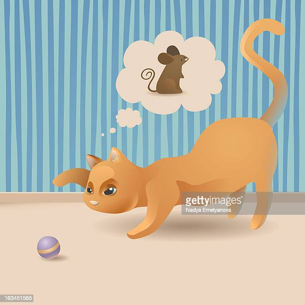 cat, the hunter - thought bubble stock illustrations
