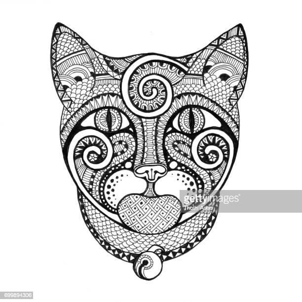 Kat met spiralen Doodle tekening