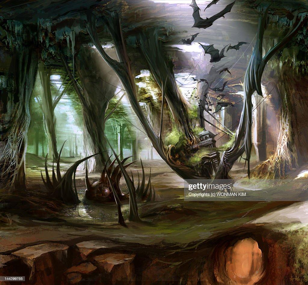 Catacomb concept art : Ilustración de stock