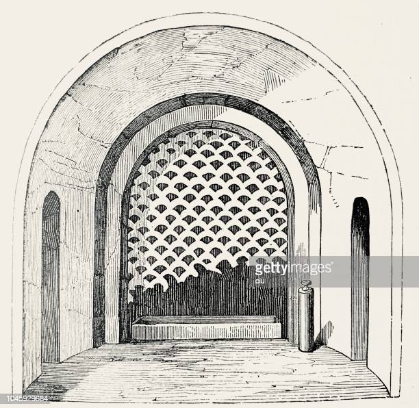 catacombs in rome: arcosolium with perforated slab - trastevere stock illustrations