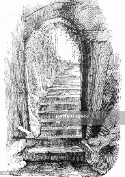 catacombs in rome: entrance to st. praetextatus - trastevere stock illustrations