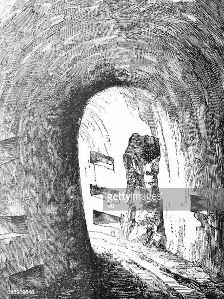 catacombs in rome: interior of corridor - trastevere stock illustrations