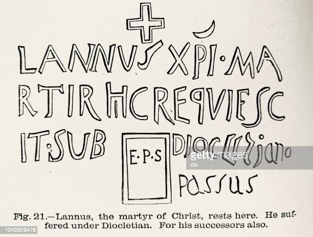 catacombs in rome: lannus, the martyr of christ, rests here - trastevere stock illustrations