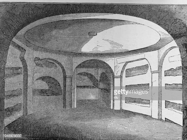 catacombs in rome: perspective of lower chamber - trastevere stock illustrations